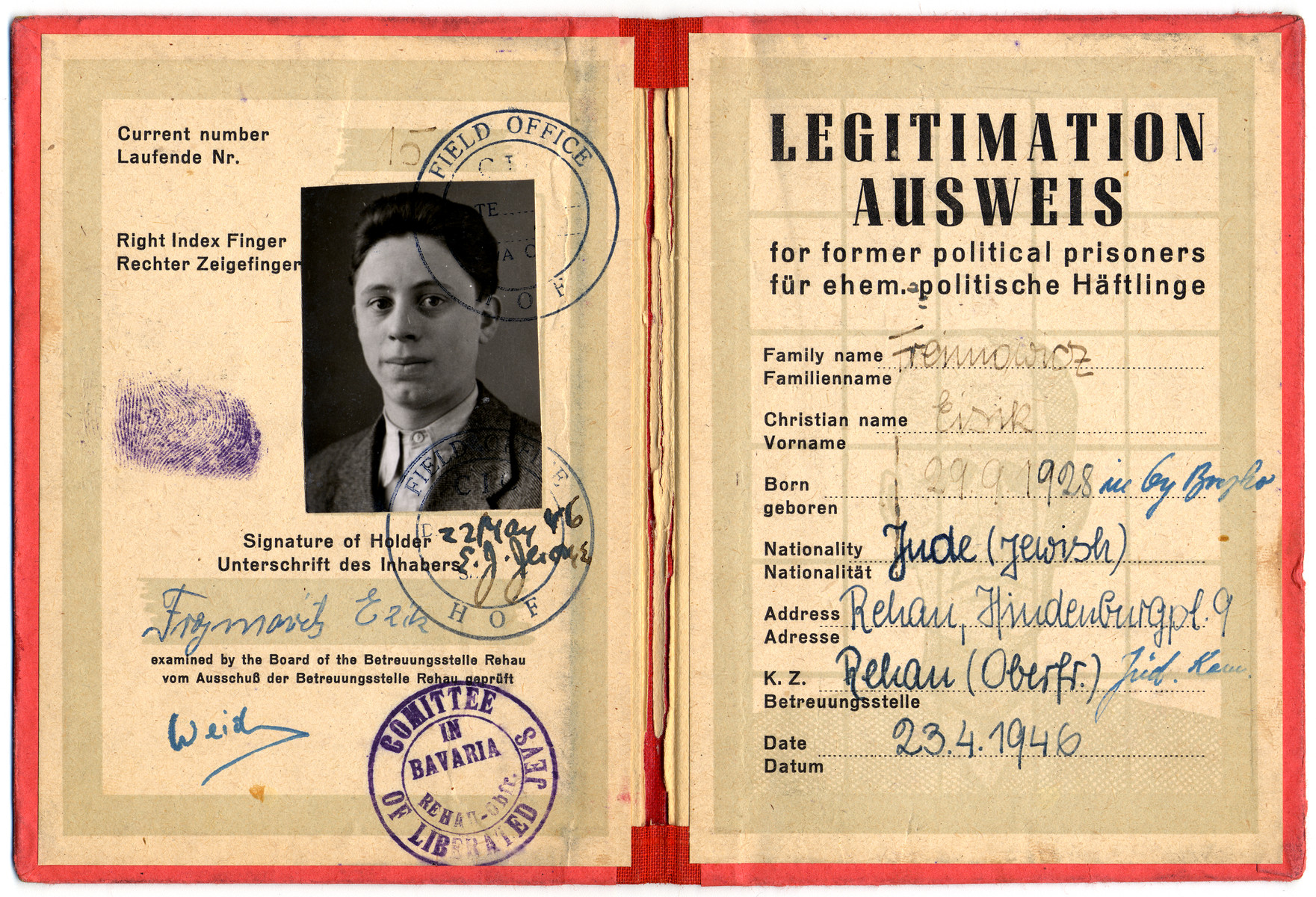 "Identification card for ""former political prisoners"" issued to Eisik Freimowitz."