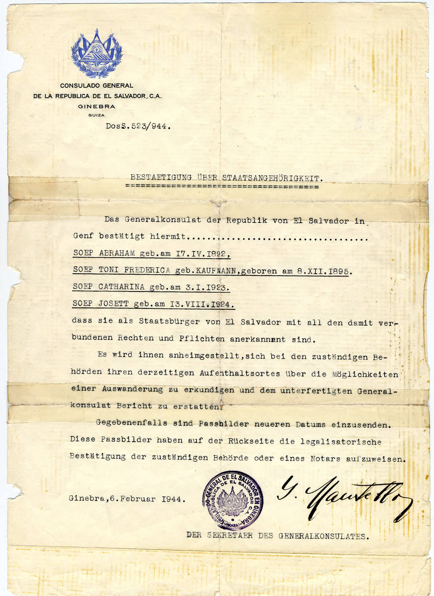 Unauthorized Salvadoran citizenship certificate issued to Abraham, Toni, Catharina and Josette Soep by Jewish rescuer, George Mandel-Mantello.  This certificate may have been responsible for them receiving special privileges in Bergen-Belsen.