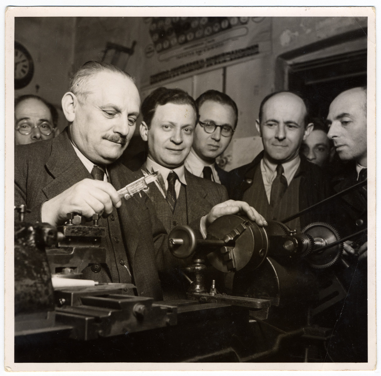 Viennese Jews learn typewriting repair in an ORT vocational school following the Nazi take-over of Austria.  Franz Edelschein is among those pictured.