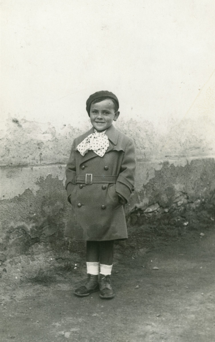 Thomas (Tomika) Koviliak stands in a yard in 1935. He perished at Auschwitz.
