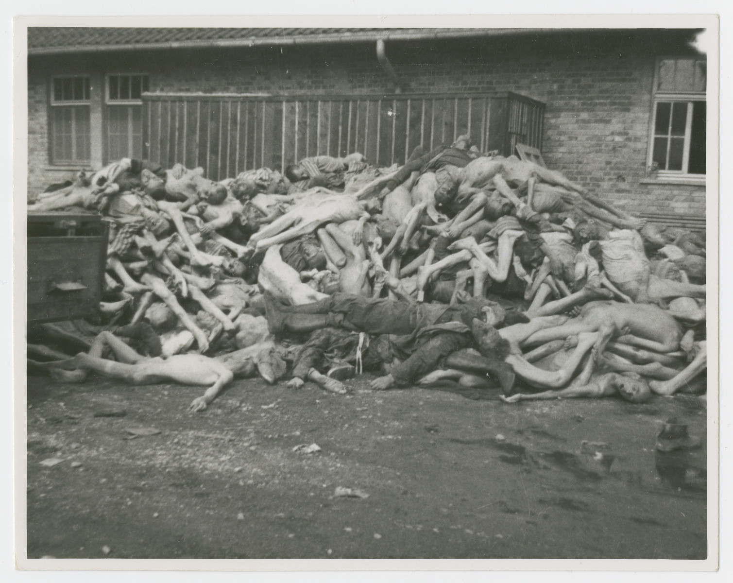 Corpses stacked outside the Dachau crematorium, with [what looks like a German guard] lying in the front.