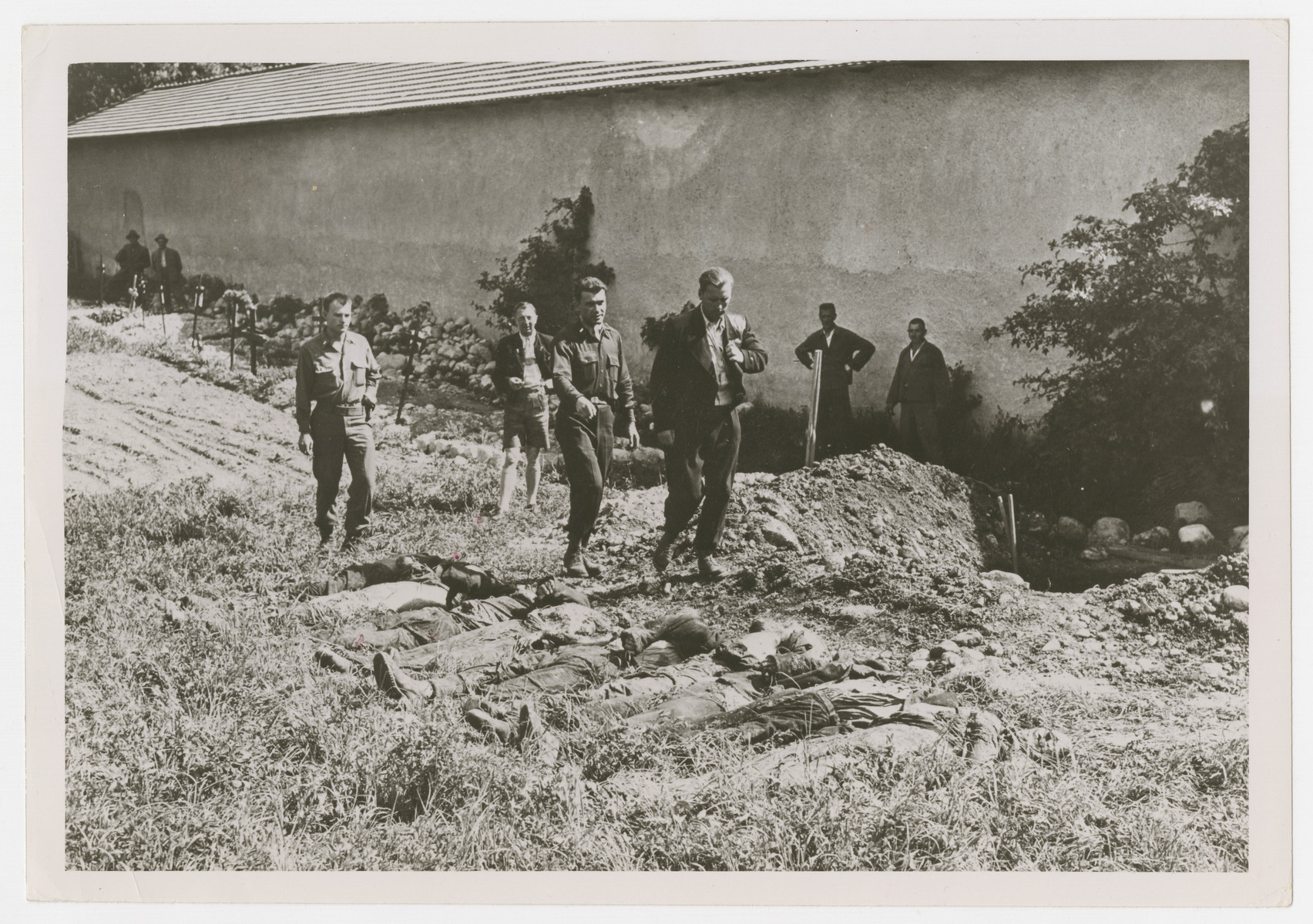 """An SS officer views corpses at Reichenau shortly after liberation.  The original Signal Corps caption reads, """"Untersturmfuehrer S.S. Martin Schott Lagerfuehrer of the Reichenau Concentration Camp looks at the bodies of eight Polish workers who had been hung at his camp."""""""