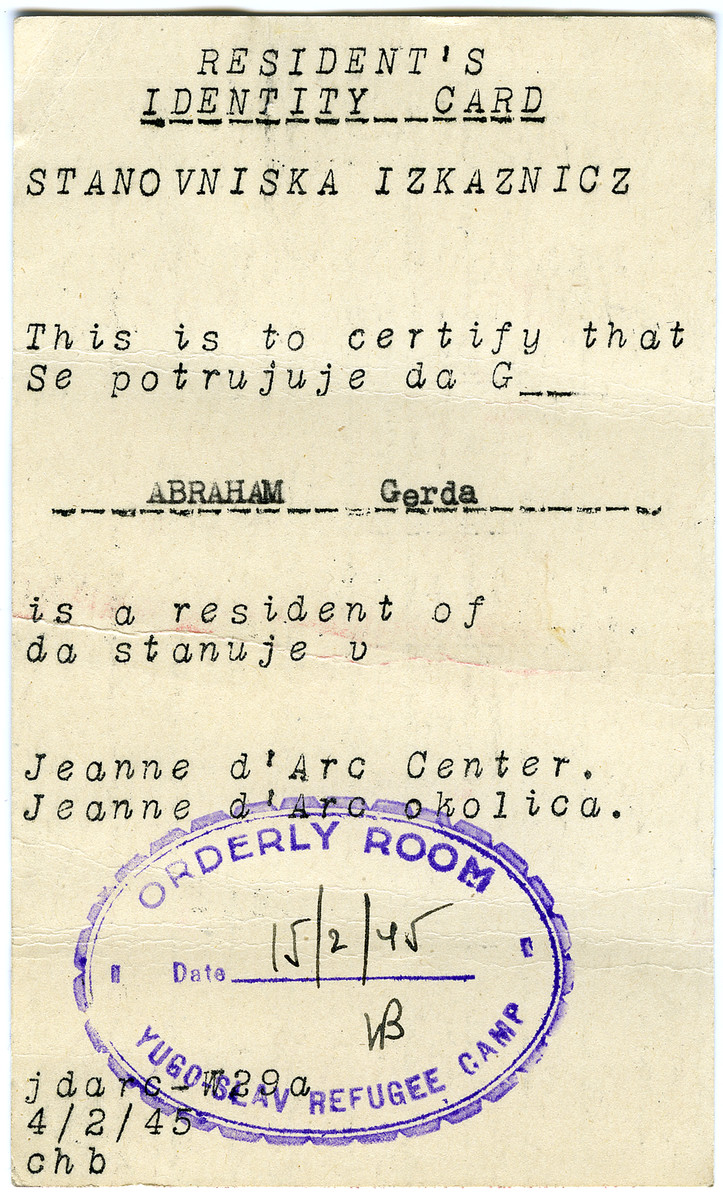 Gerda Abraham's resident's identity card issue to her in the Jeanne d'Arc refugee camp in Philippeville, Algeria.