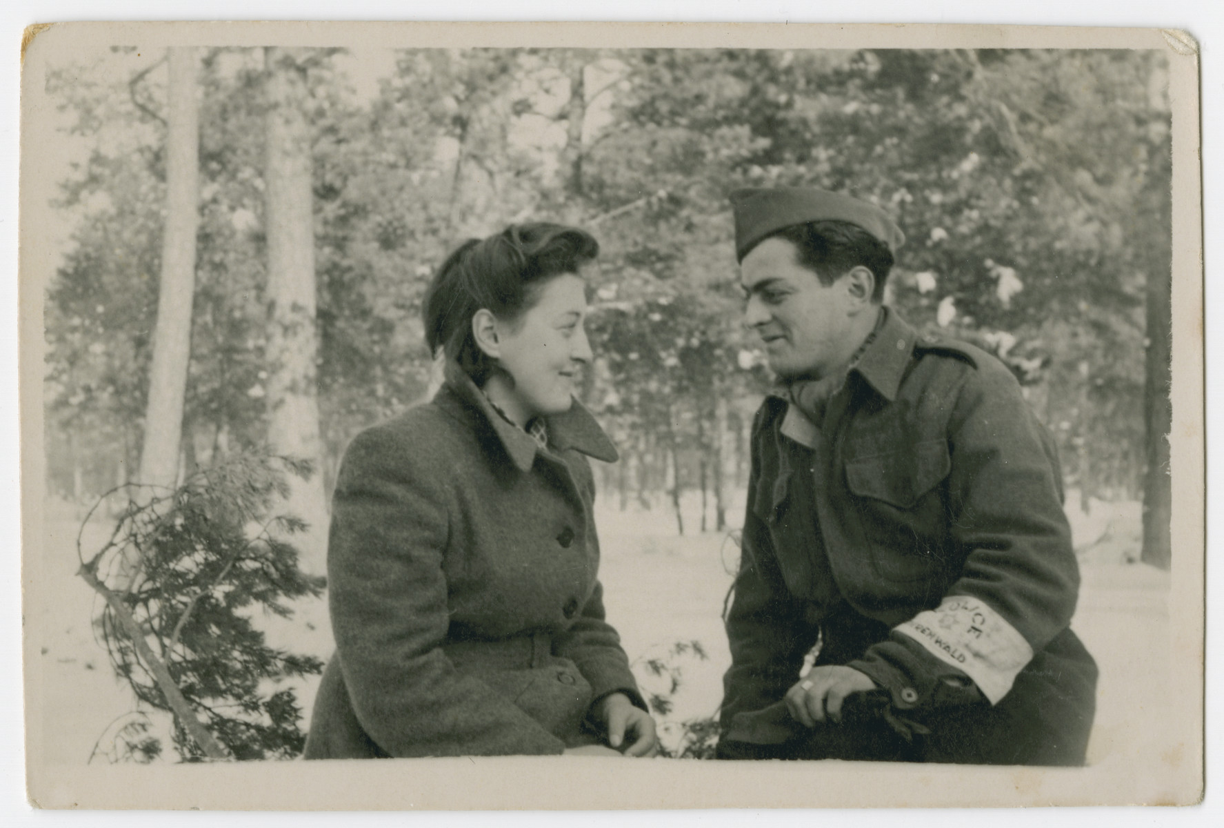 "Close up portrait of a Jewish policeman and his girlfriend in the Foehrenwald displaced persons camp.  The oriignal caption reads: ""To my friend Sala as a memento .  Your friend and neighbor, Dawid and Sala."""