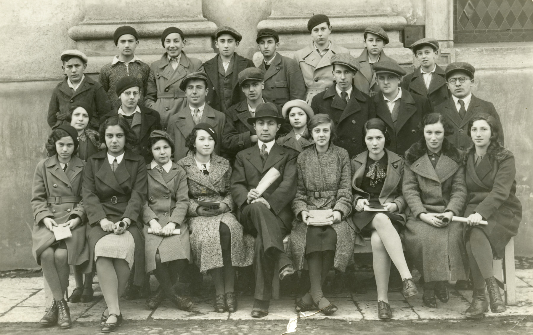 Group portrait of a Hebrew class in prewar Slovakia.  The teacher was Tuvia Grossman. (It is from a collection of photos of the donor's first husband, Milan Uri Mayer.)