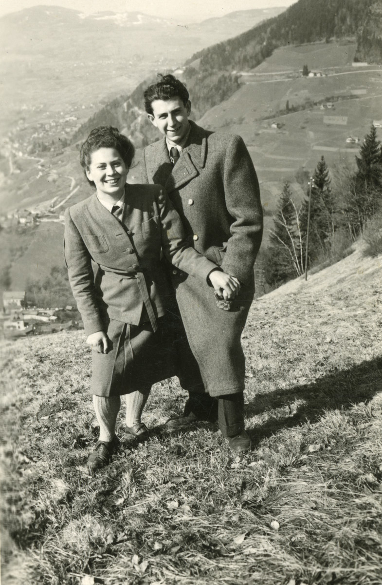 Suzanne Sigmund and her future husband Milan Mayer go for a walk in the mountains near Montreux after having survived the war with the Kasztner transport.