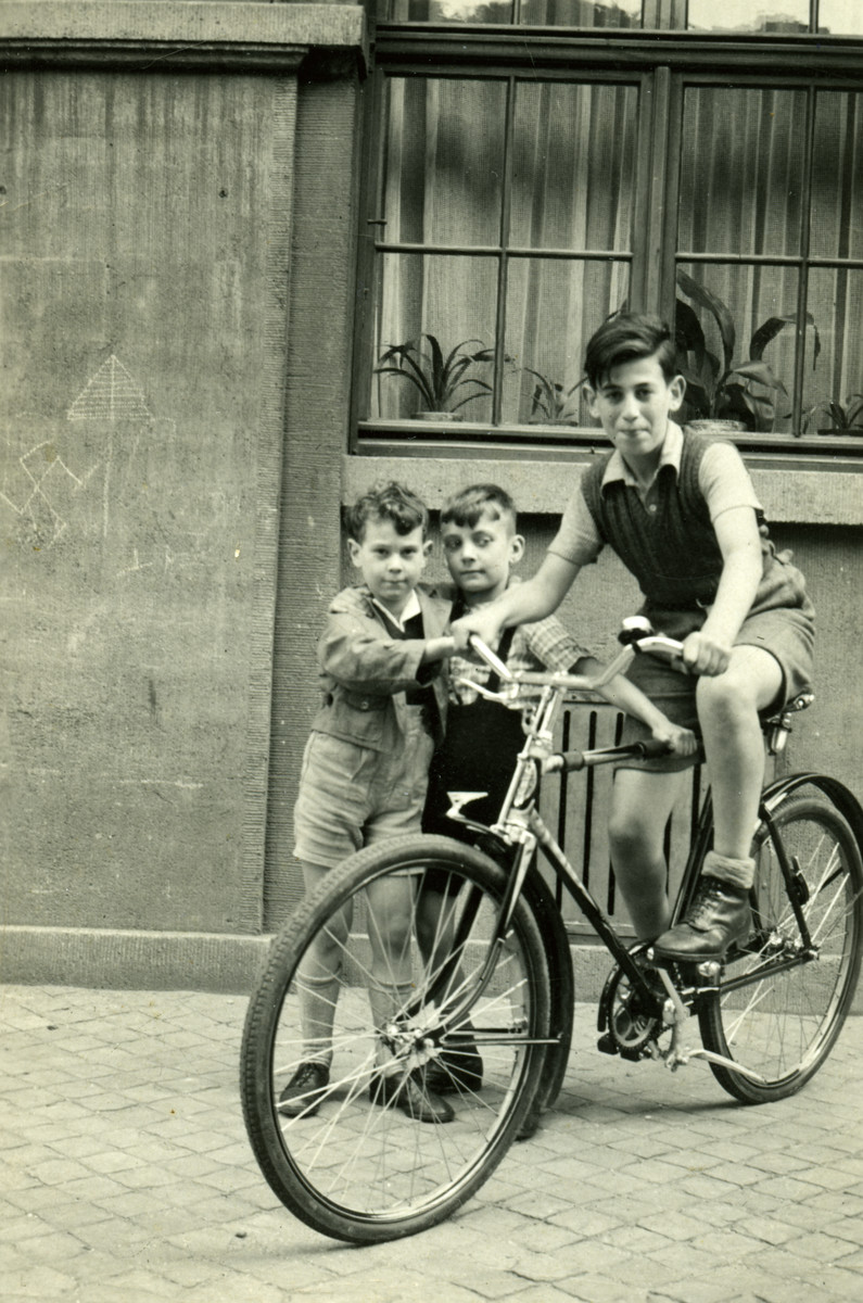 Kurt Hirschhorn rides his bicycle while his younger brother Richard and another young boy look on.