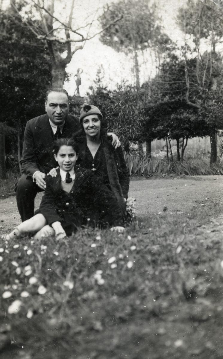 The Navarra family poses in a park in prewar Milan.  Pictured are Dario, Alberto and Marta Navarra.