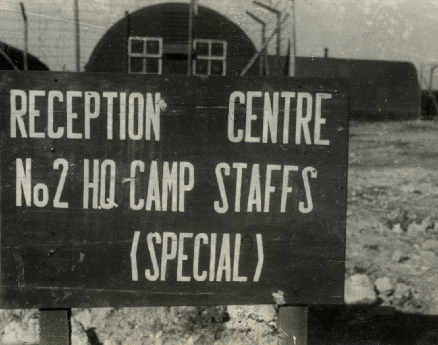 View of a sign for the Reception Centre in the Cyprus internment camp.