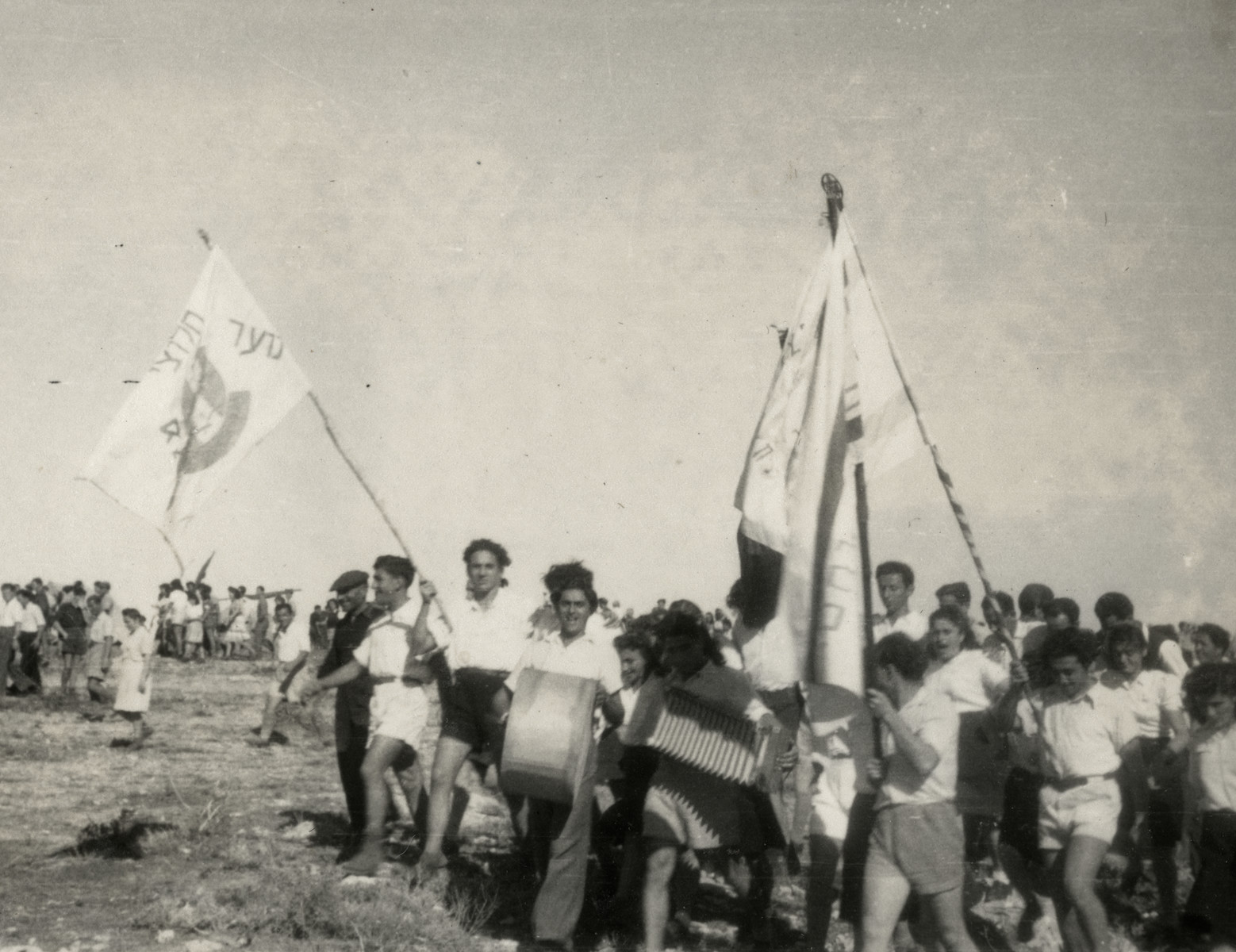 Refugees in the Cyprus internment camp celebrate the United Nations Partition Plan for Palestine.