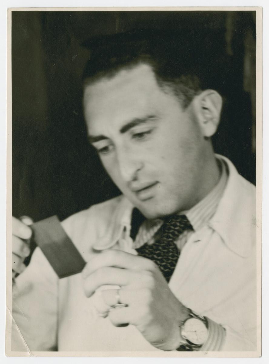 Erich Sonnemann processes film in a lab in Heidelberg.