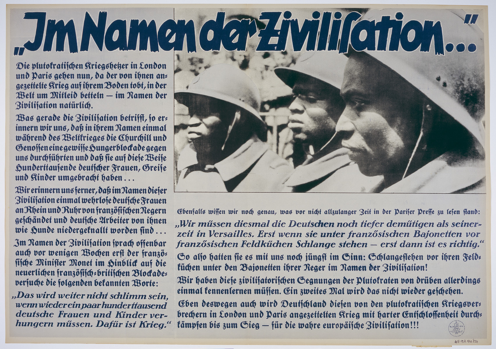 "Nazi propaganda poster entitled, ""Im Namen der Zivilisation"" (Krieg in Frankreich),  issued by the ""Parole der Woche,"" a wall newspaper (Wandzeitung) published by the National Socialist Party propaganda office in Munich."