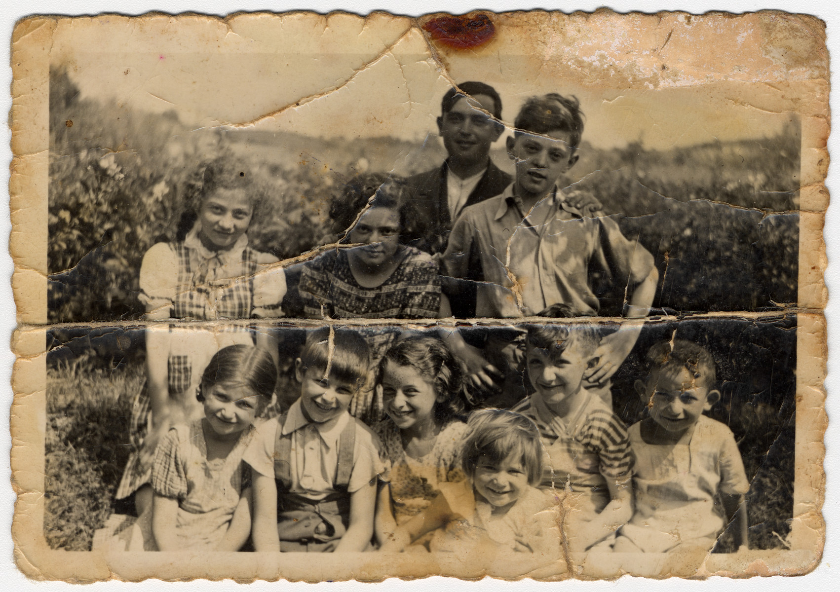 Group portrait of children in Tarnow, Poland.  Cesia Honig is pictured in the upper row on the far left.