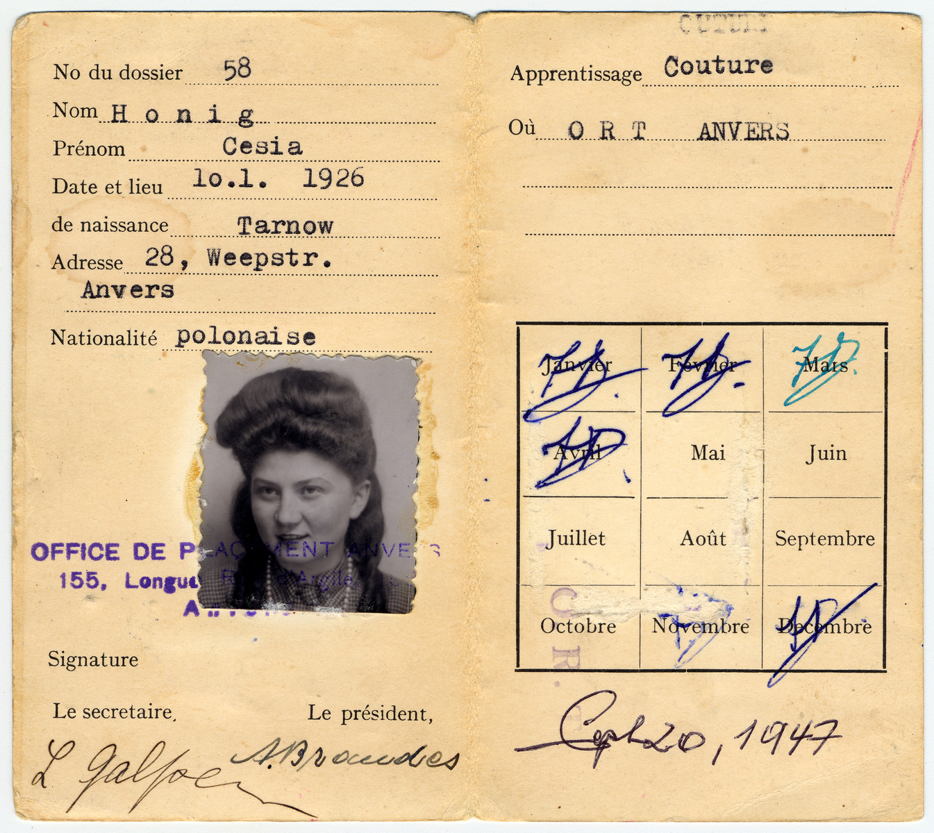 Identification card for Cesia Honig issued by ORT in Antwerp, Belgim where she was studying dress-making while awaiting her American visa.