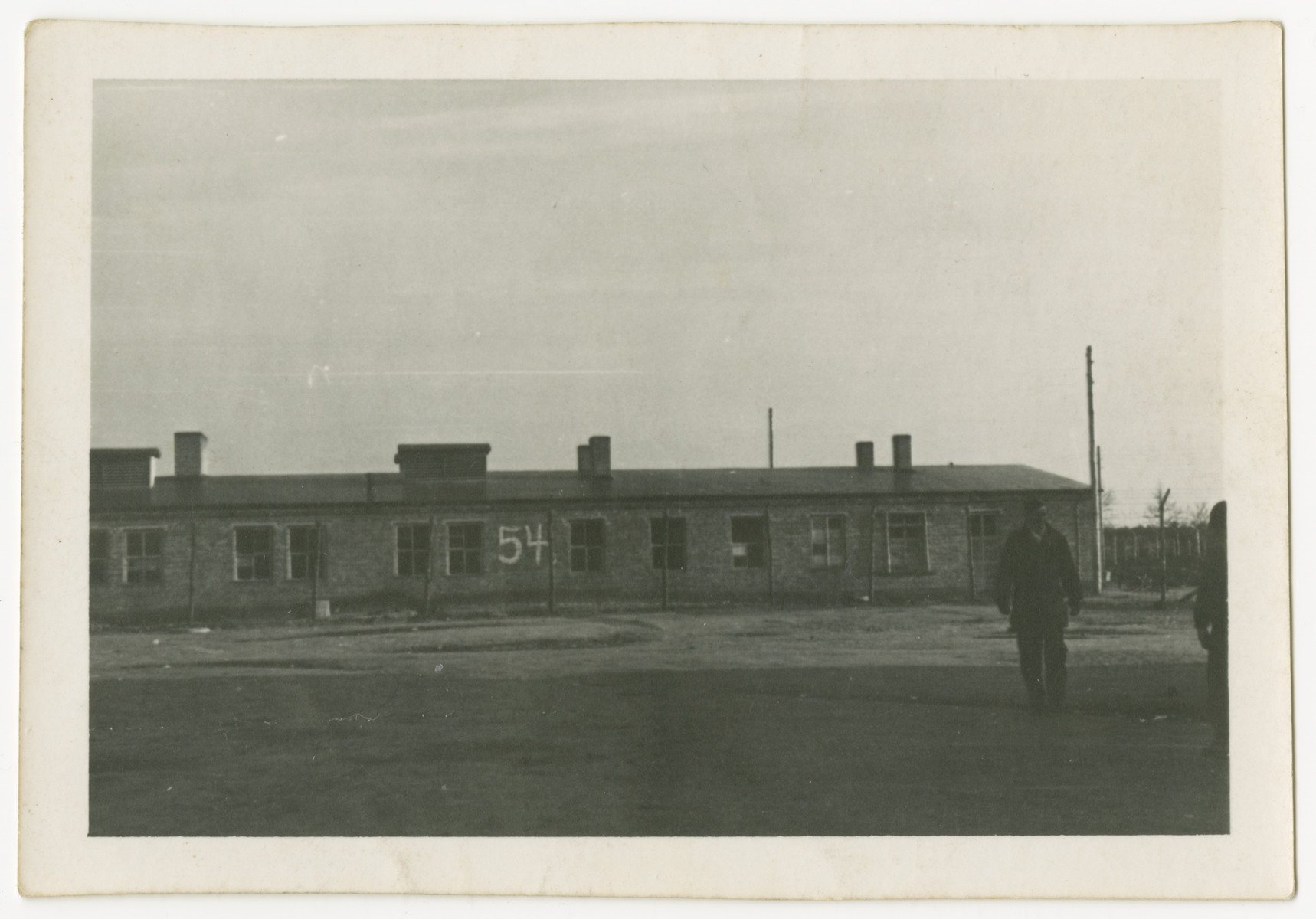 An exterior view of building 54 at Woebbelin concentration camp.