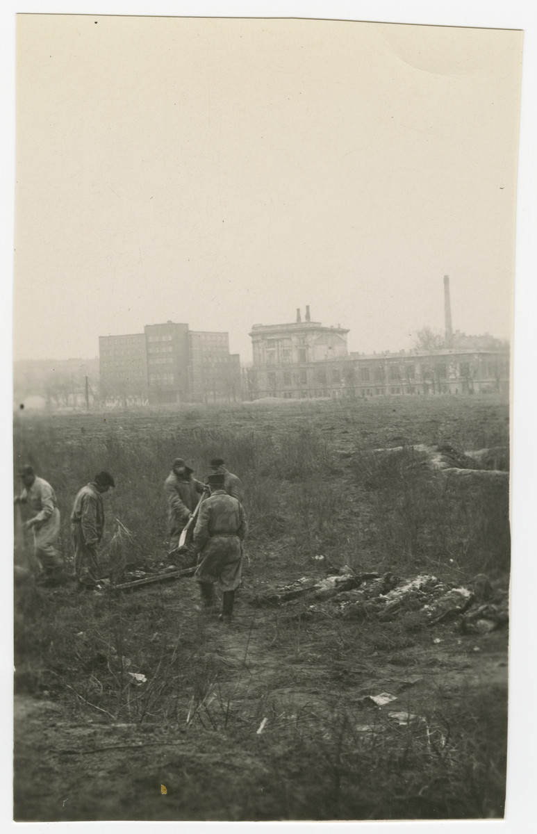 """Polish men exhume corpses in a field in Warsaw.  The original caption reads: """"The five pictures on this page are very depressing.  I took them to show bodies being exhumed after the war in Warsaw from their burial places which were most anyplace after they were shot and killed."""""""