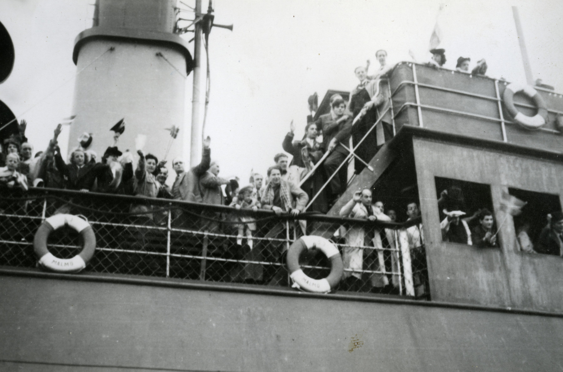 The Kischinovsky and Scheirmeister families return by ship to Denmark from Sweden