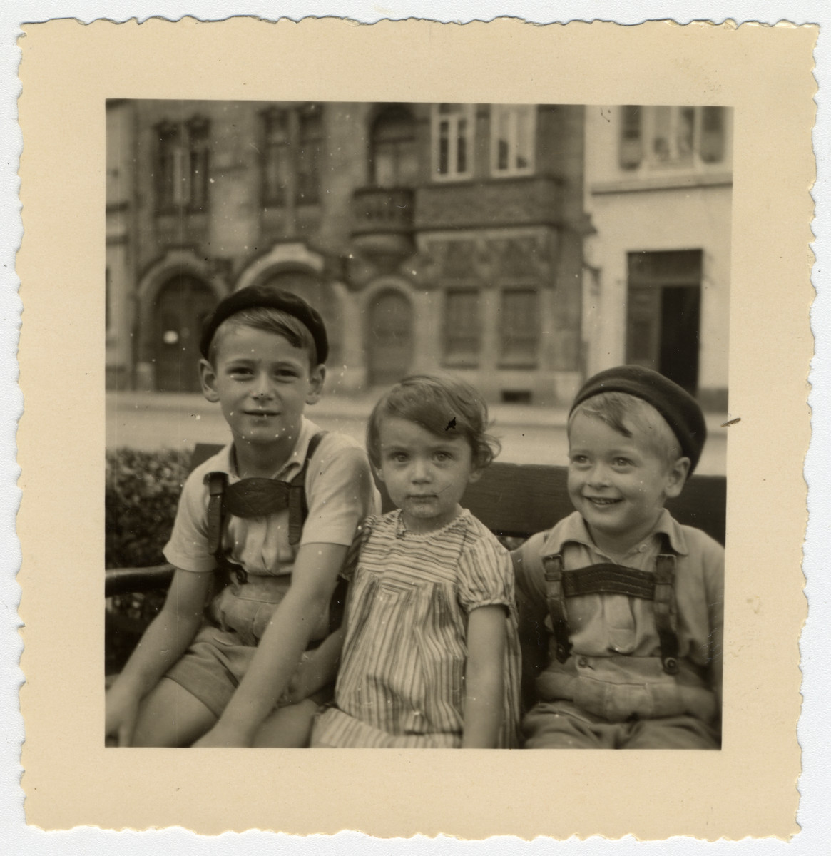 Close-up portrait of three German-Jewish children in Mannheim Germany.  Pictured are Max, Josef and Ruth, the children of  Manfred and Recha Kalberman. Manfred was born on March 31, 1900 and eventually committed suicide when he thought he would never get a visa to leave Nazi Germany.