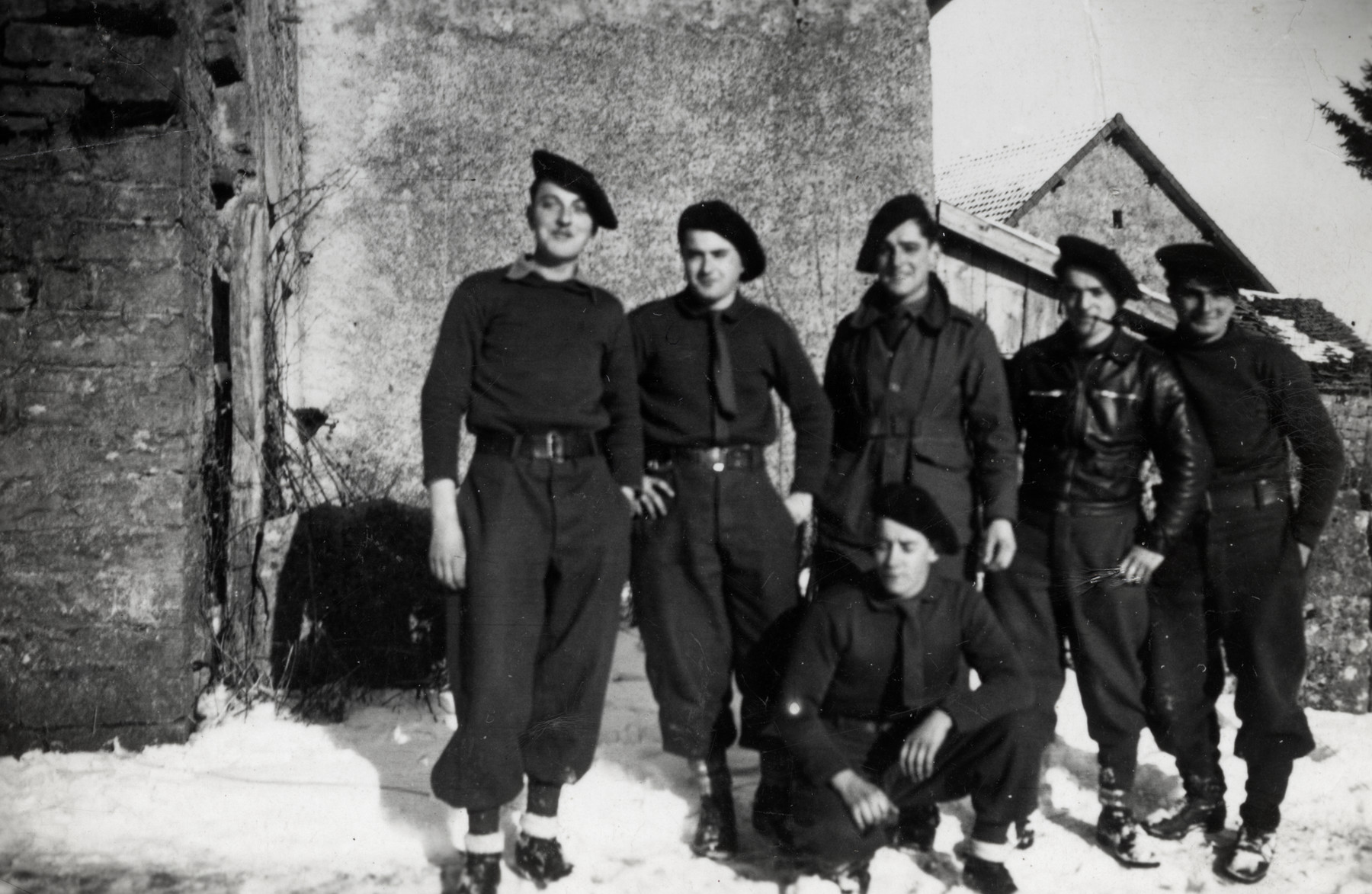 Group portrait of a unit of the French resistance.  Andre Levy is pictured on the far right.