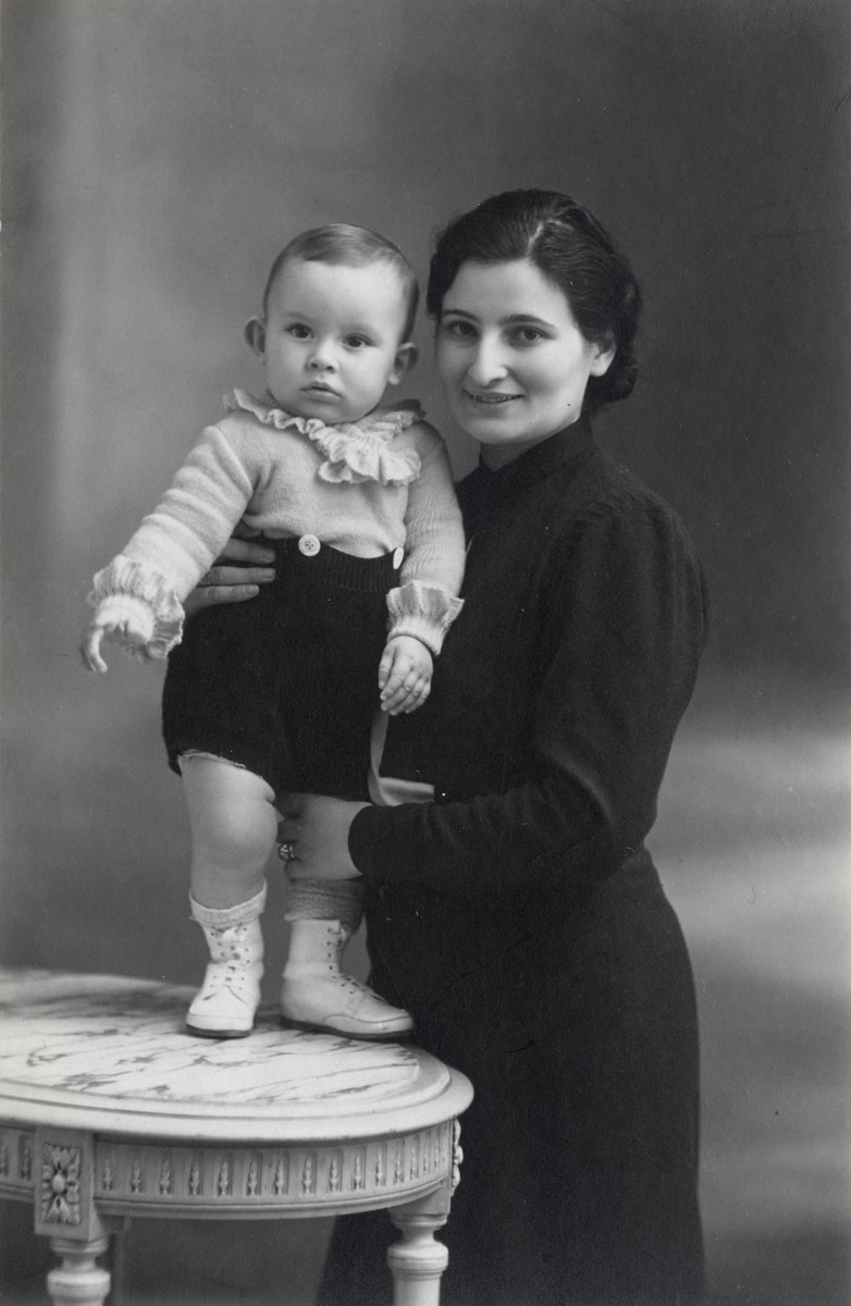 Studio portrait of Jacques Michel with mother Suzanne,
