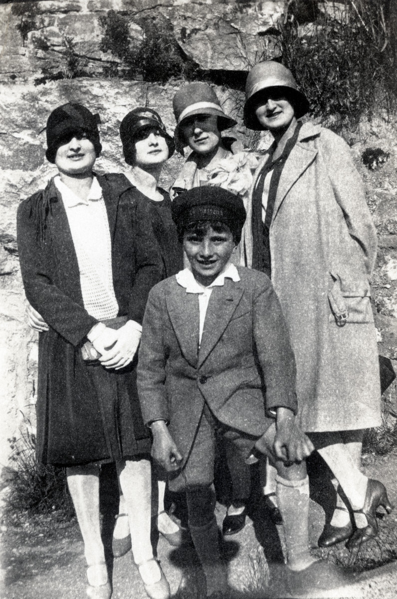 The Levy family goes for an excursion in prewar Alsace.  Pictured are Andre Levy (the boy), Suzanne Levy, and Renee Levy (on right).