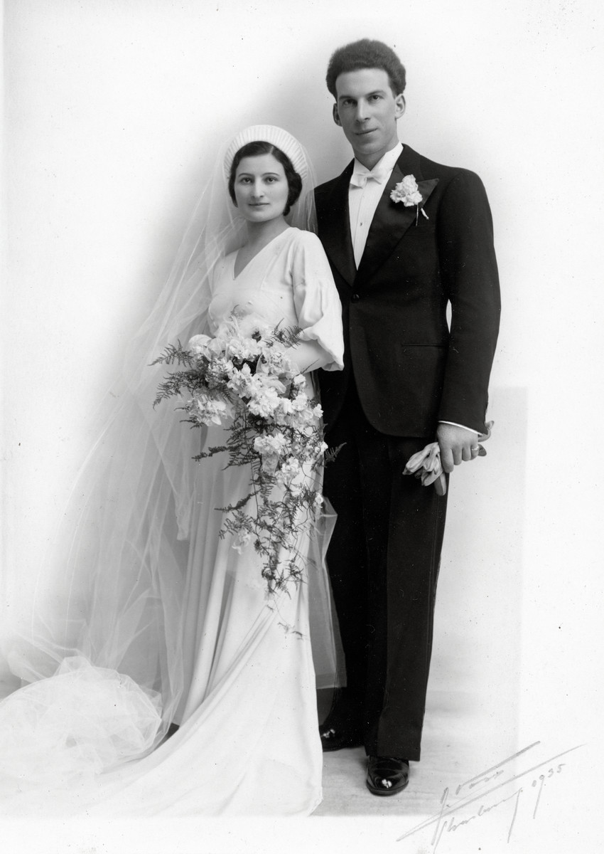 Wedding portrait of Marcel and Suzanne Michel.