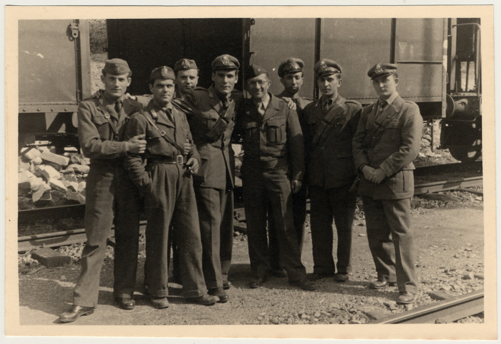 Group portrait of repatriation train guards.