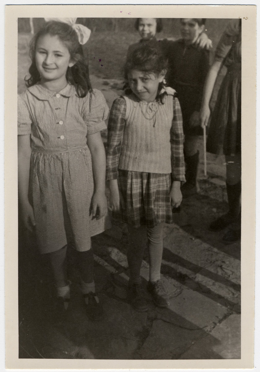 Portrait of two young girls in the Ziegenhain displaced persons' camp.  Pictured are Bella Schapira and Channa Chernowitz.