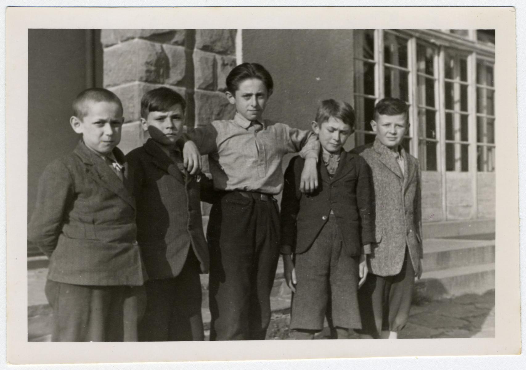 Portrait of young children in the Ziegenhain displaced persons' camp.  Pictured are Nachum Barvinski, Max Millen, Mischa Schneider, Felix Rickower, and Ruman Ichuda.