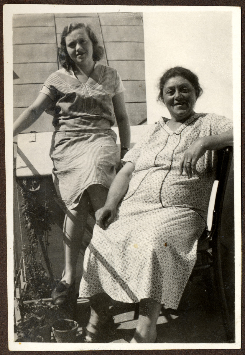 Outdoor portrait of Ella and her mother Toni Grossman in prewar Romania.