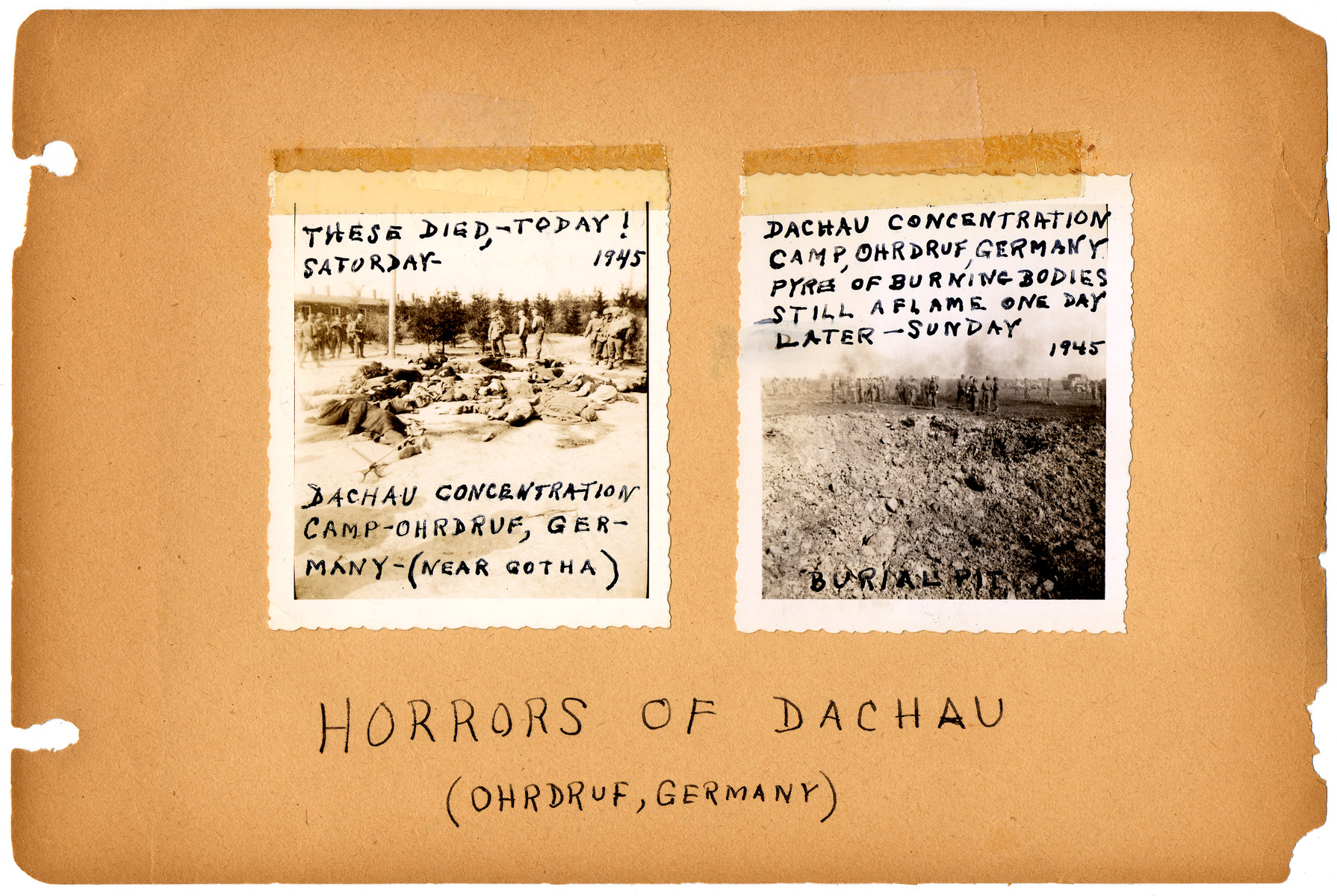 Annotated album page documenting the liberation of Ohrdruf concentration camp from the album of Henry Raymond Malenfant, 4th Armored Div, 84th Reconnaissance Battalion.  [Note: The annotation misidentifies the concentration camp as Dachau when in fact, Ohrdruf was part of the Buchenwald system.]