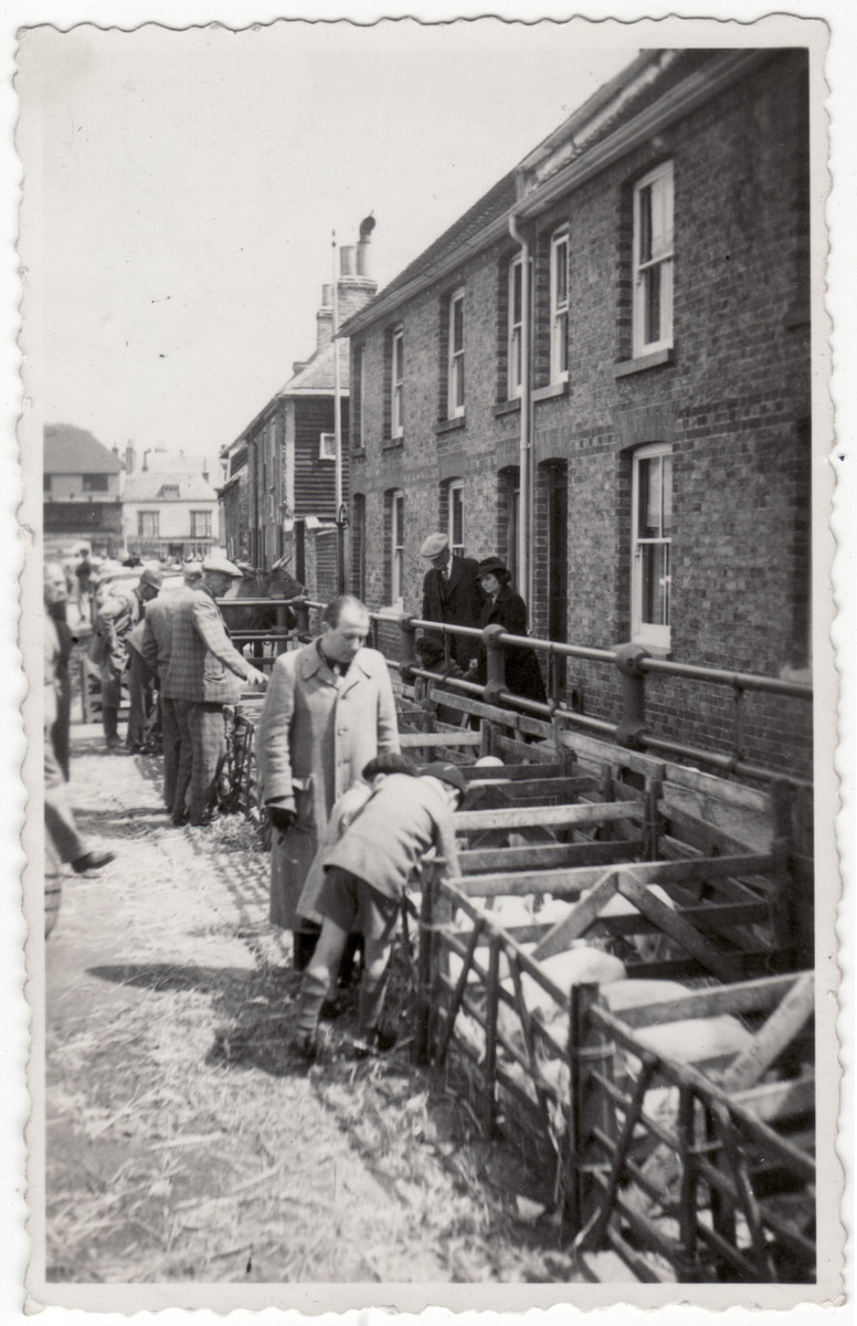 "Jewish refugees from the Kitchener camp work in ""The Piggeries"" (a market place where people went to sell their pigs) in Sandwich."