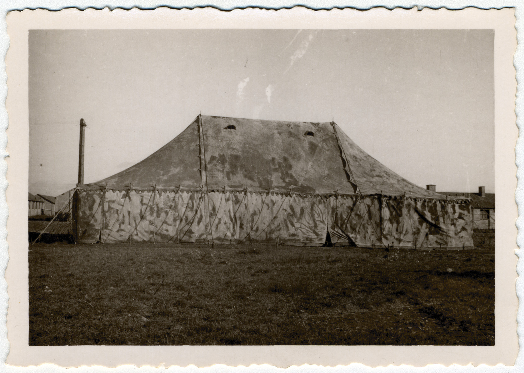 Exterior view of a tent used as a synagogue in the Kitchener refugee camp.