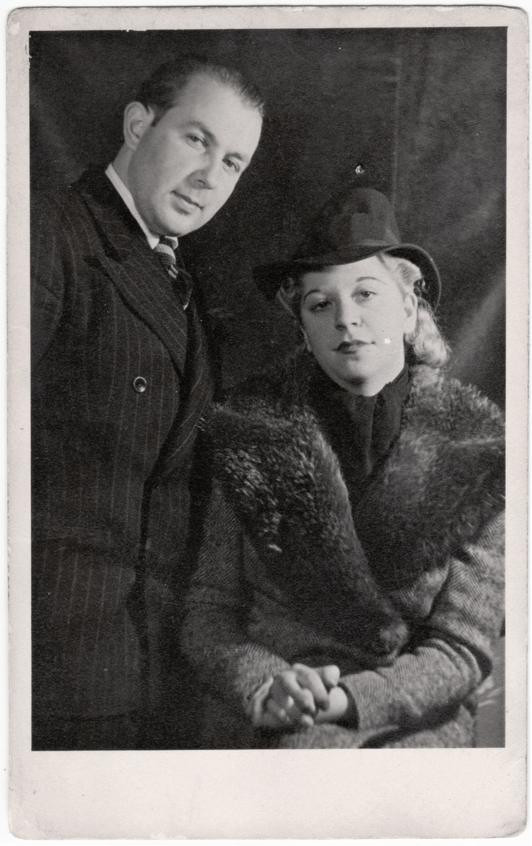 Studio portrait of Siegfried and Marion Kulmann [probably taken right before or right after they immigrated to England from Germany],