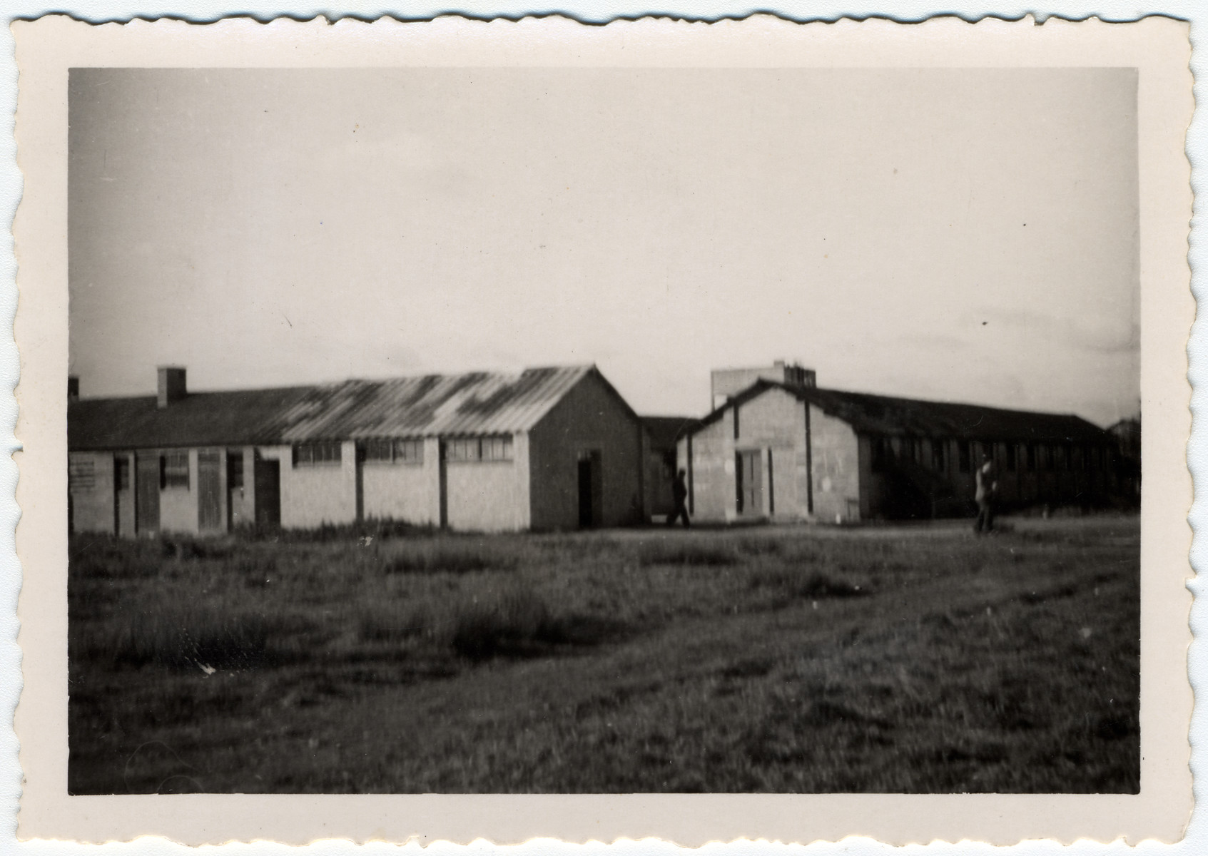 Exterior view of two barracks in the Kitchener refugee camp.