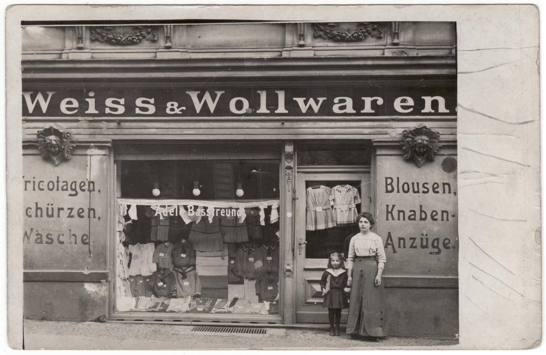 Adele Bassfreund stands outside her store on Georgenkirch Strasse 60, Berlin.