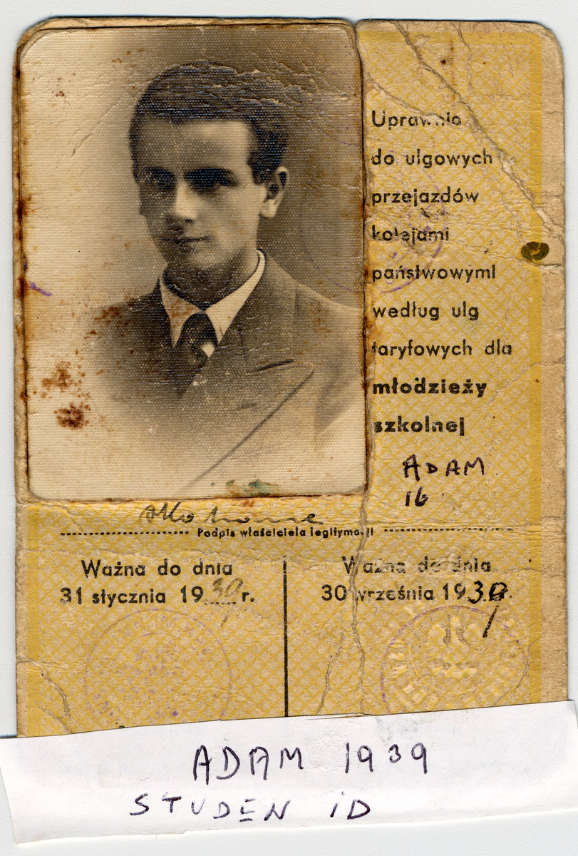 Adam Kahane's student identification card from 1939.