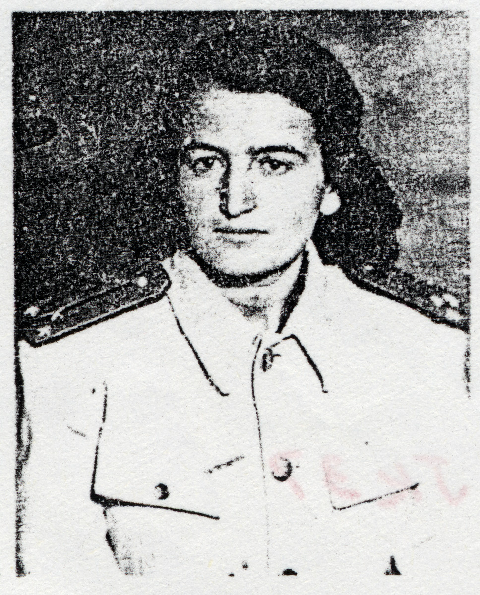 "Portrait of a Macedonian Jewish partisan.  Pictured is Jamila ""Tsveta"" Kolonomos, wearing the uniform of a colonel."