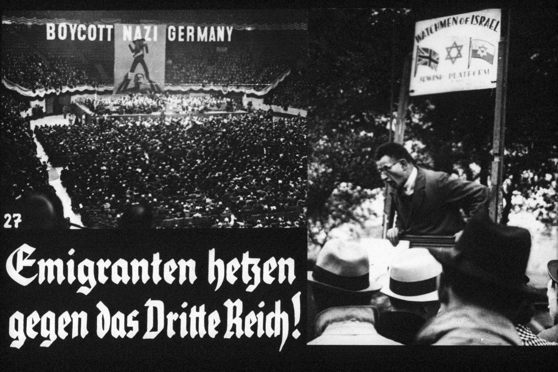 "27th Nazi propaganda slide of a Hitler Youth educational presentation entitled ""Germany Overcomes Jewry.""  Emigranten hetzen gegen das Dritte Reich! // Emigrants stir up hatred against the Third Reich!"