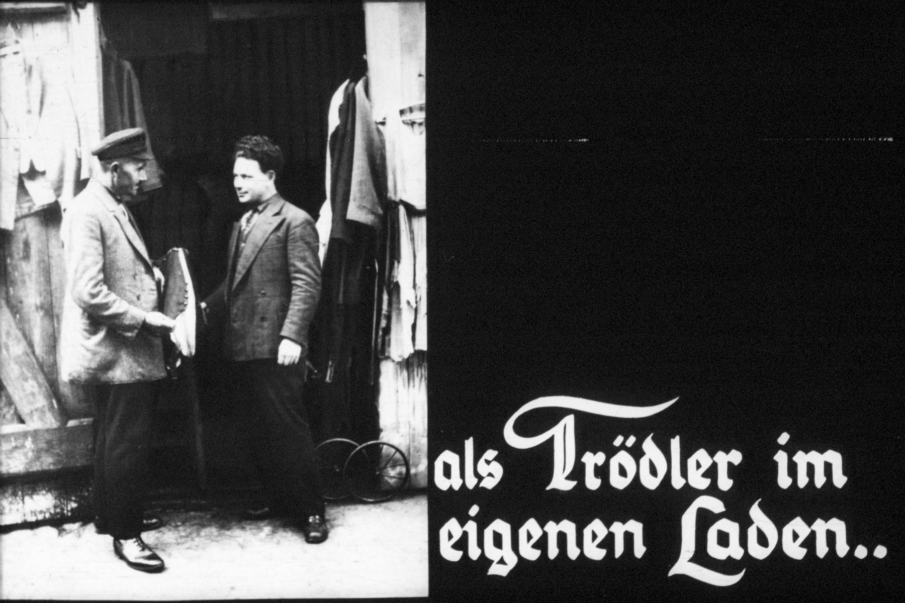 "10th Nazi propaganda slide of a Hitler Youth educational presentation entitled ""Germany Overcomes Jewry.""  als Trödler im eigenen Laden.. // as a junk dealer in his own shop .."