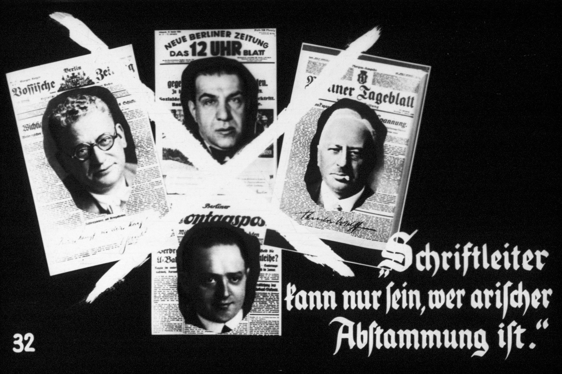"""32nd Nazi propaganda slide of a Hitler Youth educational presentation entitled """"Germany Overcomes Jewry.""""  """"Schriftleiter kann nur sein, wer arischer Abstammung ist."""" // Writers (authors) can only be of Aryan descent"""
