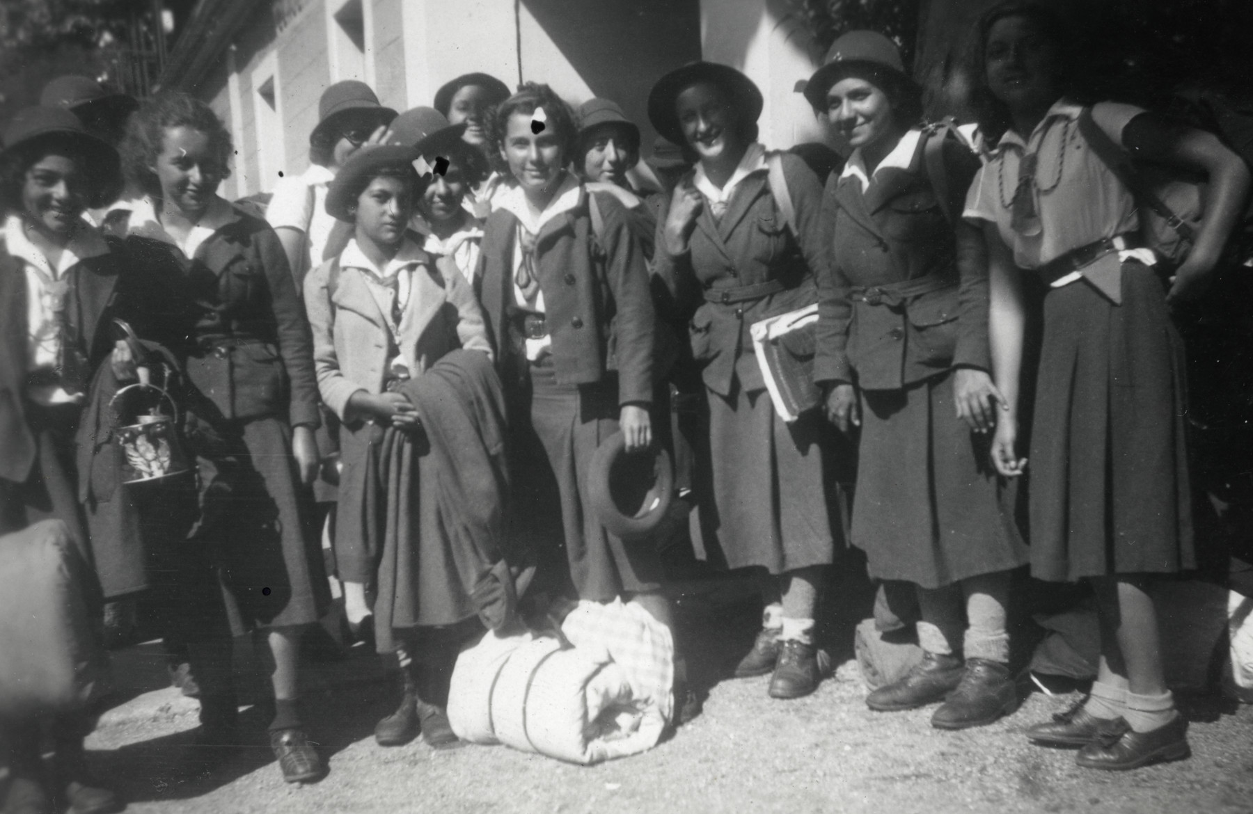 Members of the Eclaireurs Unionistesof Champlong-les-Bouges prepare to depart for Genolhac.   Denise Caraco is standing second from left.