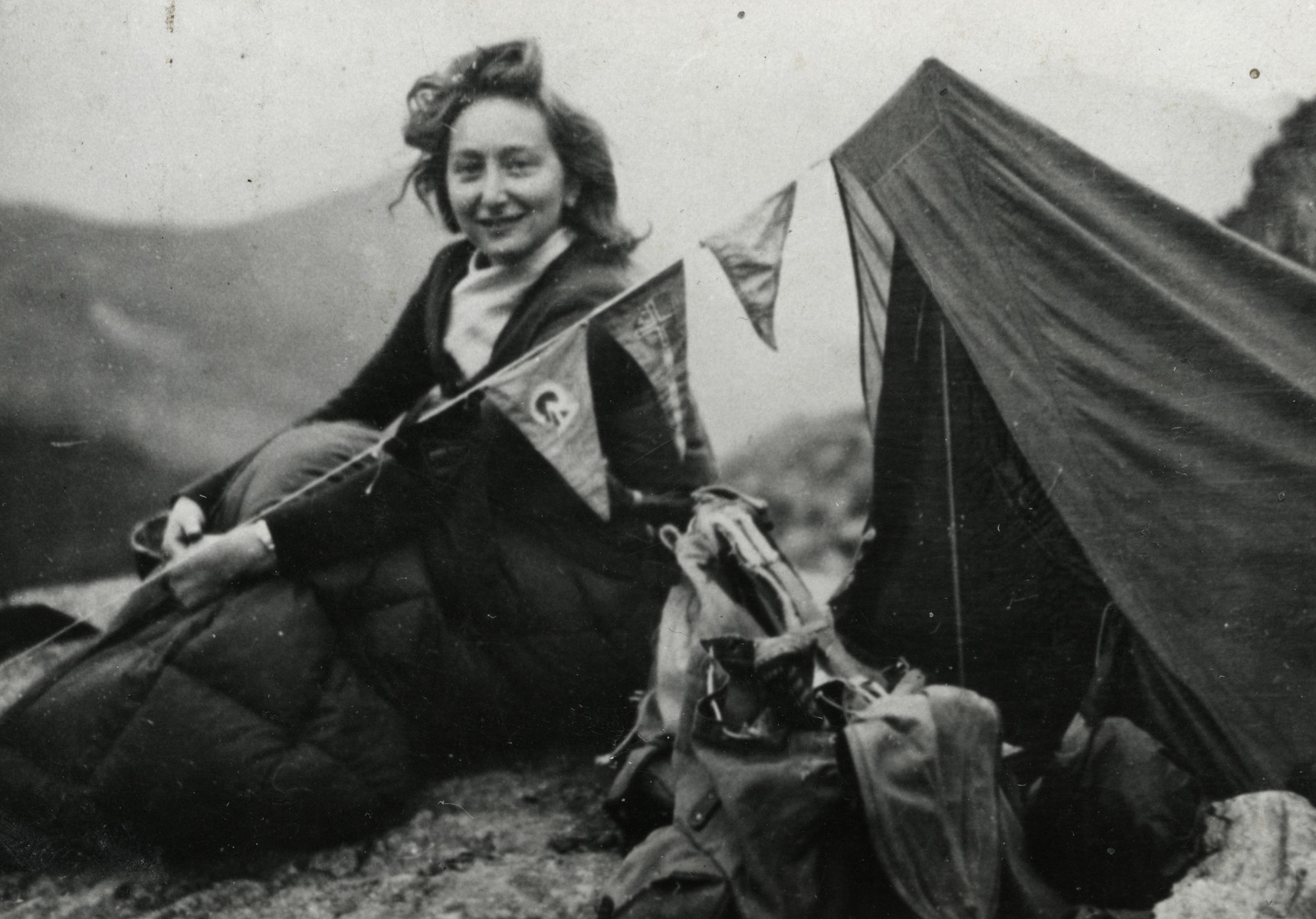 Close-up portrait of Jewish resister, Huguette Wahl, during a camping trip. The photo was taken a few weeks before she was killed in Auschwitz.