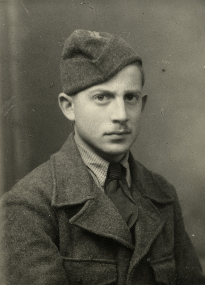 "Close-up portrait of Yehuda Basnitsky in his uniform. Yehuda was a maquisard in the resistance group created by Joseph Bass, or ""Monsieur Andre"", in which the donor also took part. His nickname was ""Fleche""."