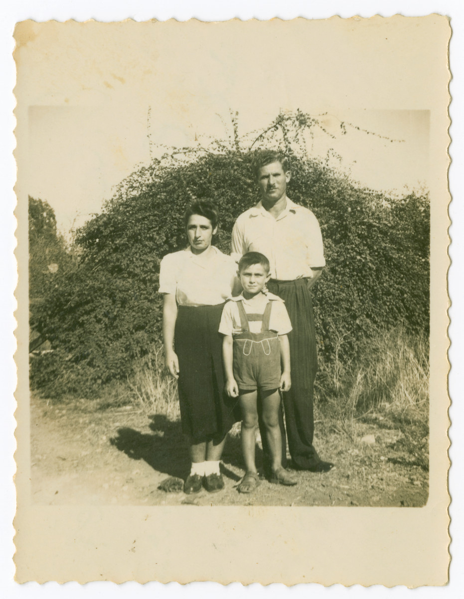 Portrait of the Osztreicher family taken soon after their arrival in Palestine.  They lived there for two years prior to returning to Hungary.  From left to right are Olga, Tibor and Lajos Osztreicher.