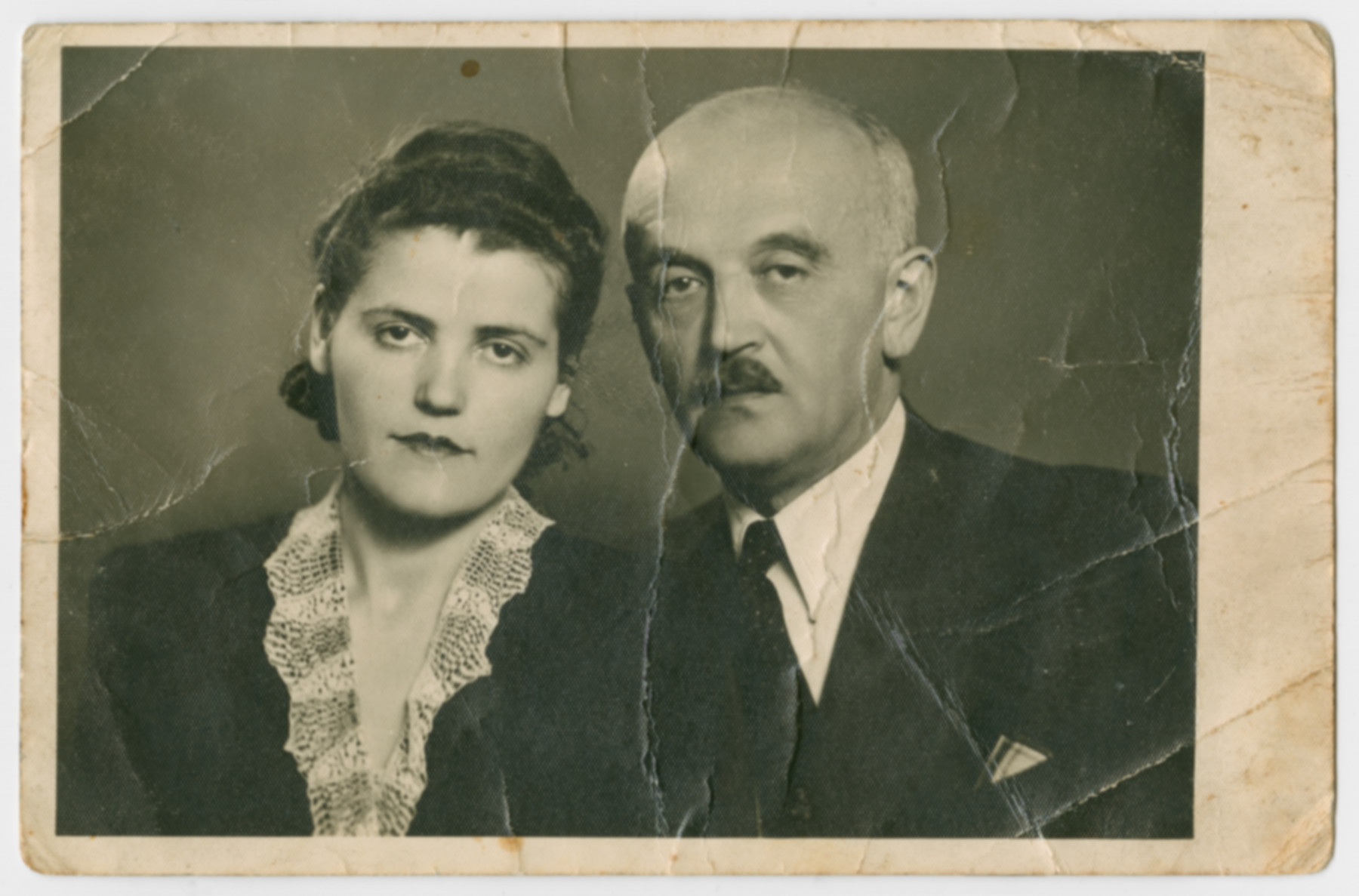 Studio portrait of Friderika and Sandor Klein taken the day they learned that their parents had been deported.