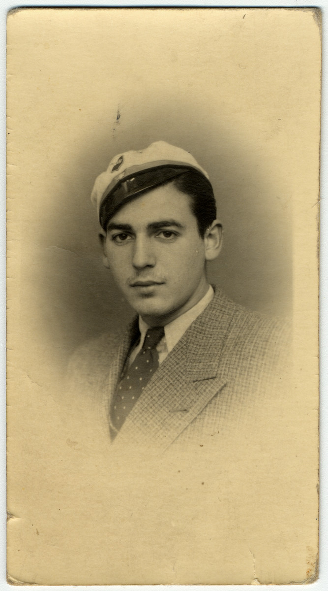 Portrait of Haim Vidal Sephiha in his school hat from the Gembloux agricultural school taken the year before was expelled for being Jewish.   He had enrolled in the school hoping to receive the training to become an agronomist in Palestine.