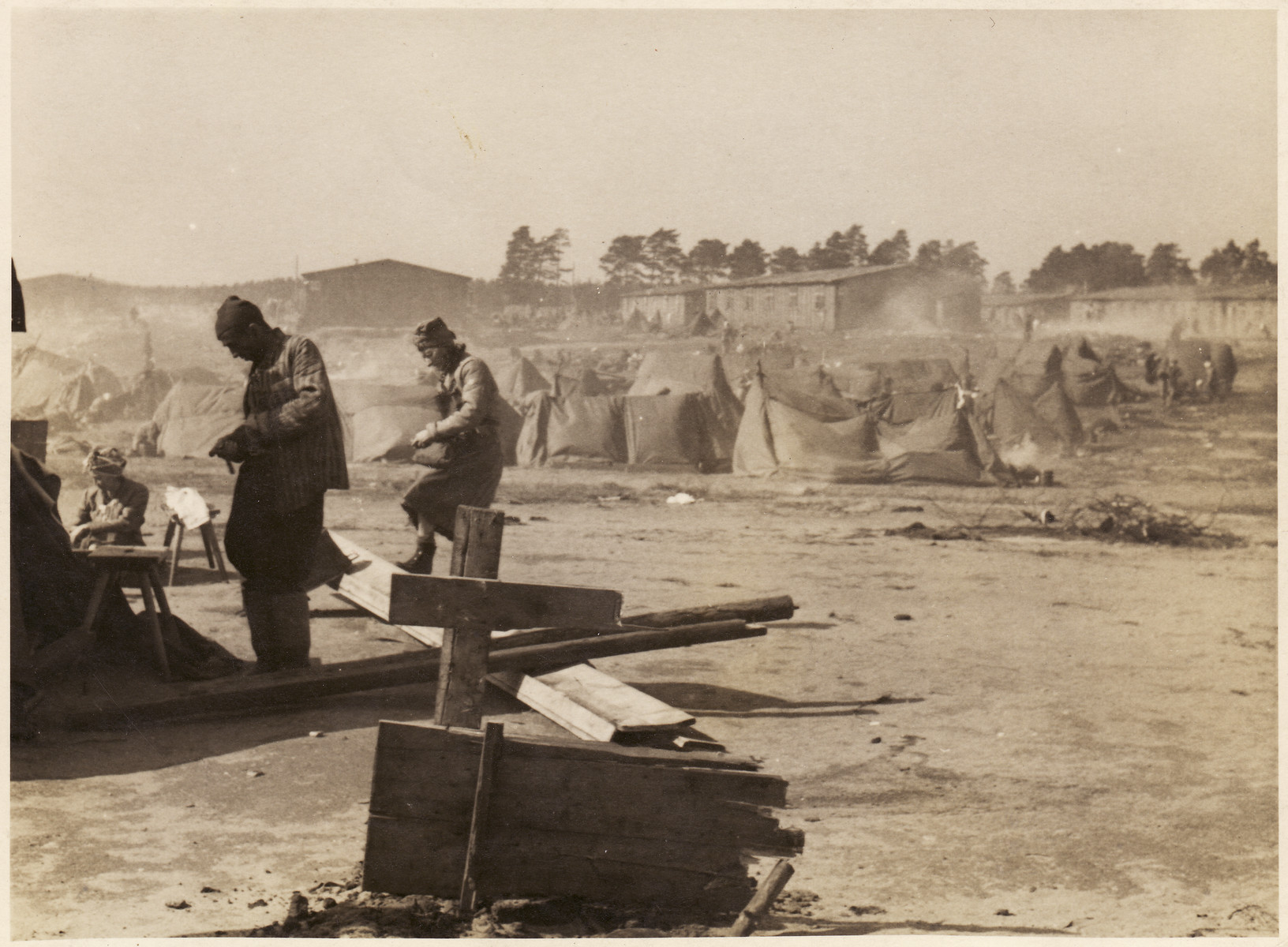 Survivors in a tent city set up at the Bergen-Belsen concentration camp.