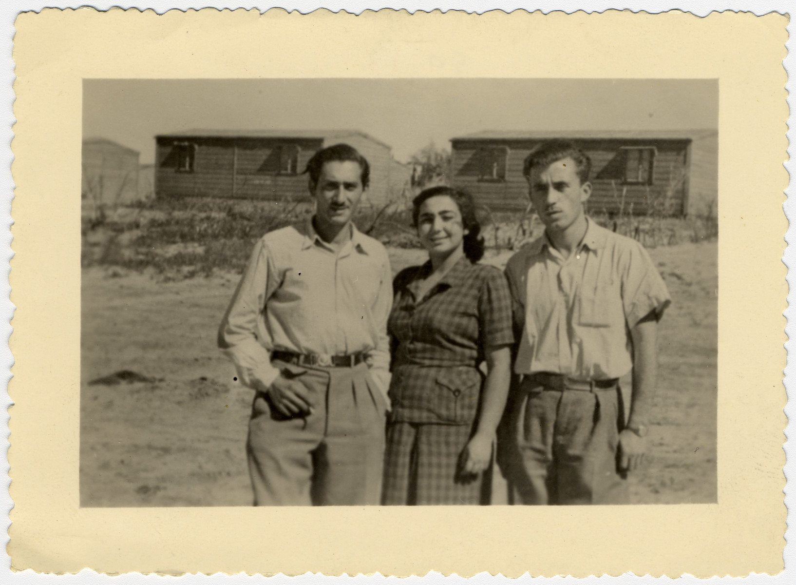 Portrait of three young adults after their arrival in Israel from a Cyprus internment camp.  Jacques Sephiha is pictured on the left.