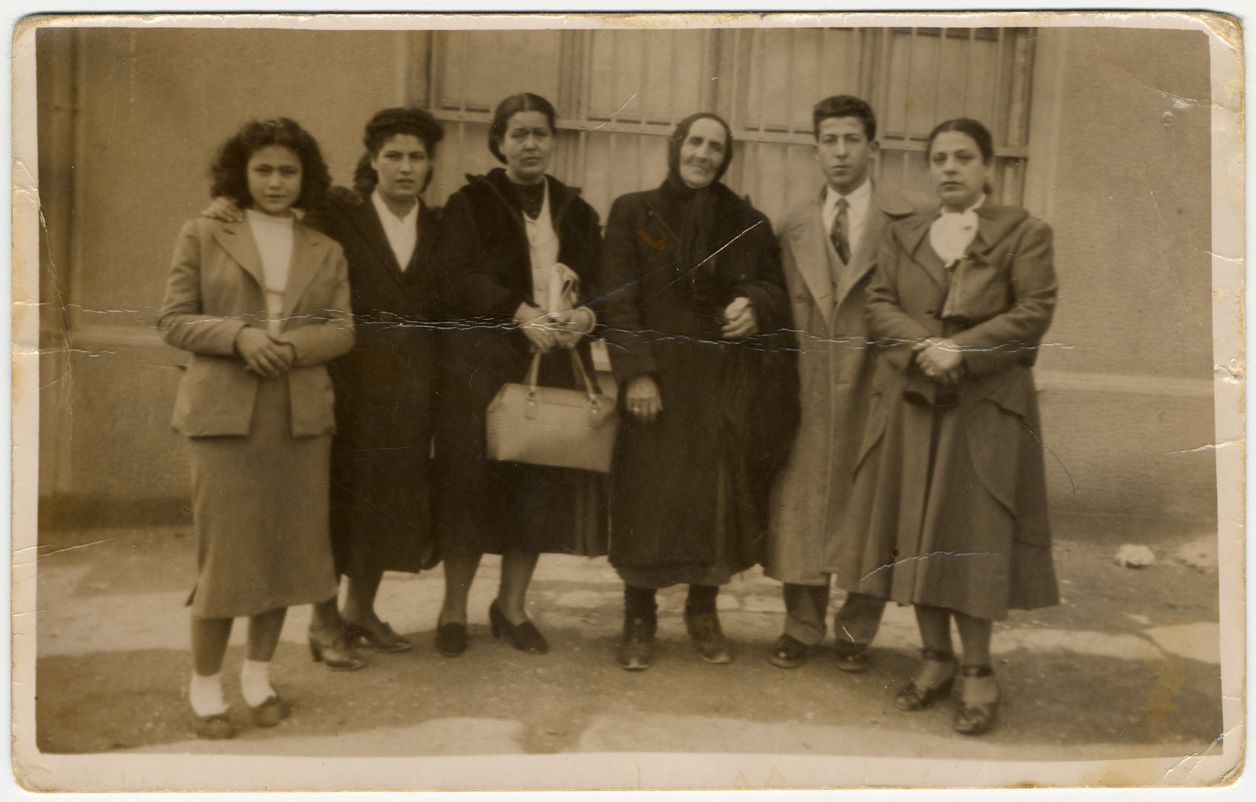 The Gabrielides family says good-bye to its relatives prior to leaving for the United States.  Pictured from left to right are Effie Gabrielides, Rachel Barouch, Esther Gabrielides, Simha Gabrielides (grandmother of the donor), Zino Gabrielides and Nina Alouf.